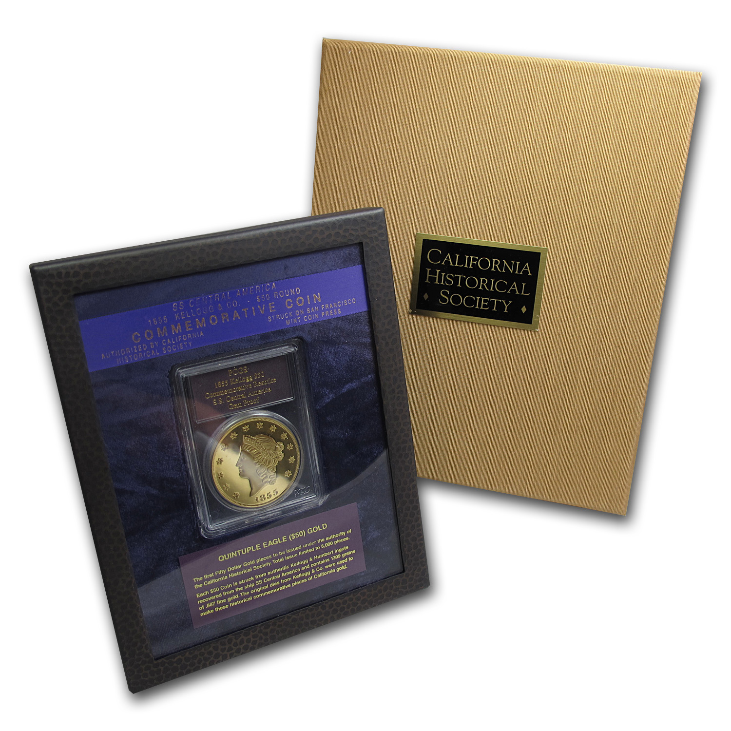2.419 oz Gold Rnds - $50 Kellogg Restrike (PCGS GEM Proof, Box)